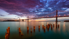 Bae Bridge (Pat Charles) Tags: sanfrancisco california unitedstates america usa travel tourism bayarea baybridge bridge nikon ocean sea water bay longexposure tripod dawn morning bluehour early outdoor outside sky clouds sunrise reflection reflected reflections leadinglines