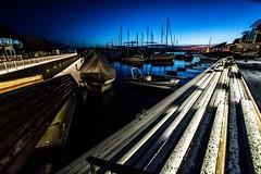 Oslo, Norway (Davide Tarozzi) Tags: oslo norway night notte norvegia kongeriketnoreg kongeriketnorge wharf boats sea barche mare