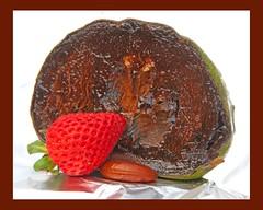 black sapote fruit (Leonard J Matthews) Tags: chocolatepuddingfruit blackspate fruit food strawberry chocolate red yummy australia mythoto seed