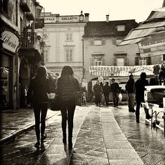 After the rain (luciano_campani) Tags: market rain mercato pioggia street strada italy italia domodossola rolleiflex 35 f ilford hp5 plus 400 monochrome