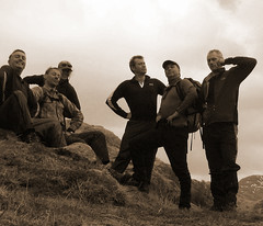 Edwardian Gentlemen pose. (Chris Firth of Wakey.) Tags: knoydart me mark cd stu mike rachel