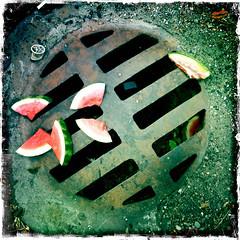 watermellon on the sewer-002 (swardraws) Tags: ontheground watermellon sewer