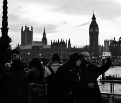 People scrambling for a selfie. (ChrisGibson2016) Tags: london selfie people tourists black white big ben house parliament england