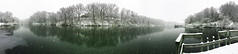 Panoramic View of Charter Oak Lake (Darshan Simha) Tags: winter snow ice lake charteroakpark peoria illinois hdr reflection pond panorama iphone outdoor charter oak park water snowing cold pano