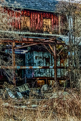 2009021324tipped and wood_HDR.jpg (kleet245) Tags: pburg overgrown rundown towns phillipsburgnj nature buildings canon weather nj oldfactory factory canoneos winter places phillipsburg newjersey lehighvalley outdoors warrencounty landscape conditions leftalone abandonded