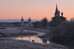 Autumn Frosts in Russia, Dunilovo (nsapronov) Tags: churches autumn tezariver cathdral dormitionmonastery russia ivanovoregion dunilovo frosts russianorthodox annunciation teza fall hoarfrosts river monastery belltower nature frost glow october dormition sunrise ivanovooblast