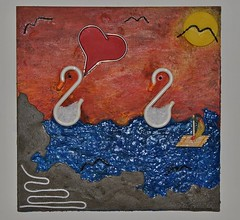 Flirt (Daniela Bellofiore Artista) Tags: quadri interni love amore cigni colorato tramonto arte lago mare pittura