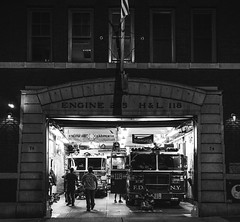 Hook & Ladder 118 (Octal Photo) Tags: 500px new york people street group monochrome vehicle fire department firemen emergency services man several fdny usa hook ladder 118