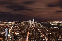 empire state of mind (kaimonster) Tags: skyline newyork manhattan long exposure city urban architecture nighttime outdoor night vacation newyorkcity empirestatebuilding observationdeck lights river