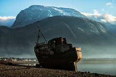 Corpach Wreck (mjbryant007) Tags: bennevis corpach boat boatwreck shipwreck mountain mountains highlands scottishhighlands scotland seascape drama dramatic mist winter nikon nikond800 70200mm telephoto