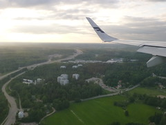 Approaching Helsinki Airport (seikinsou) Tags: road green finland airplane landscape spring airport twilight helsinki flight finnair aeroplane vantaa flybe