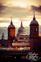 The Domes (Umbreen Hafeez) Tags: street city uk bridge light sunset england london church station st night clouds train canon dark religious europe long exposure cityscape cathedral low religion rail pauls dome gb