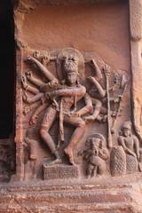 Badami, cave 1, Nataraja, dancing Shiva (Arian Zwegers) Tags: india temple ganesha dance dancer cave nandi shiva karnataka nataraja badami indiandance rockcut traditionaldance agastya 2013 dancingshiva chalukyas cave1 vatapi rockcutarchitecture agastyalake