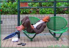`1122...Hong Kong`2014 (roll the dice) Tags: life china sleeping portrait people urban man hot colour art classic weather fashion umbrella shopping bench hongkong shoes asia alone natural candid bare chinese streetphotography sunny stranger unknown rest cantonese kowloon fella unaware smokinh