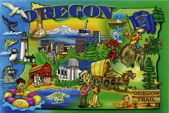 postcard - Oregon map 5 (Jassy-50) Tags: oregon map postcard cartoon mapcard cartoonmap