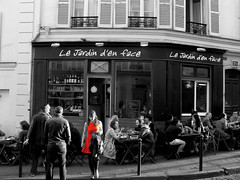 Paris (KevHaseldine) Tags: urban paris france dinner blackwhite montmartre reddress canong9 lejardindenface