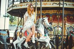 Rhinestone (alicelaneart) Tags: horse girl lights ginger dress horns deer carosel merrygoround