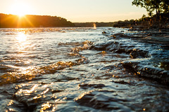 Sunset over the Falls (Erin_Takes_Pictures) Tags: light sunset ohio sun water river landscape golden natural kentucky wave falls hour louisville