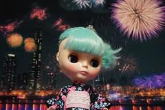 Lisa in yukata with fireworks