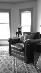 Black & White (Kenneth Wesley Earley) Tags: pakistan blackandwhite leather mobile butterfly chair spokane bernhardt livingroom mobilephonecamera spokanewa upholstery leatherchair bokhara handmaderug 99205 bernhardtfurniture htconem8 spokanewa99205