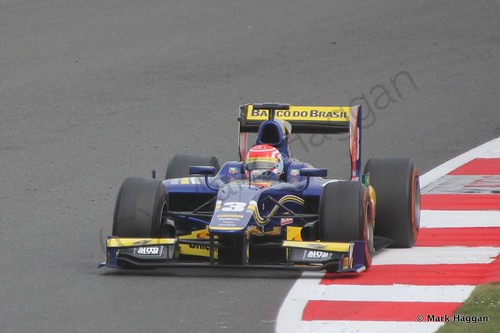 Felipe Nasr in his Carlin during the second GP2 race at the 2014 British Grand Prix