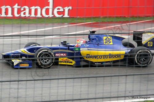 Felipe Nasr in his Carlin in the second GP2 race at the 2014 German Grand Prix
