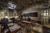 Obey the rules (Kriegaffe 9) Tags: school sunlight abandoned peeling classroom decay teacher masks derelict blackboard pupils desks