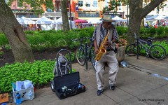 Jazz time! (elnina999) Tags: park street people musician music usa man black male art hat bench outdoors concert artist play tn adult dancing knoxville live steps performance jazz blues swing player melody entertainment musical sound instrument passion expressive entertainer casual perform feeling performer sax brass saxophone talented entertain soulmusic saxophonist nikond5100