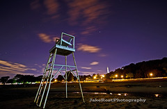 No Lifeguard on Duty (JakeRost) Tags: longexposure beach wisconsin night stars landscape sand nikon nightscape lifeguard lakemichigan milwaukee tamron eastside mke bradfordbeach milwaukeecountyparks nikond5100 jakerost