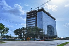 Office project on 12 acres south of Memorial Drive and west of Eldridge (elnina999) Tags: park plaza new city travel blue trees windows sky urban panorama cloud reflection building cars window glass lamp skyline architecture modern skyscraper fence buildings circle corporate drive office high highway downtown day commerce cityscape texas exterior view traffic cloudy district famous platform houston sunny landmark center panoramic business round infrastructure metropolis tall shape finance nikond5100
