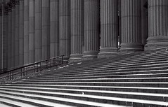 Neither Rain Nor Sleet (95wombat) Tags: old bw newyork monochrome manhattan postoffice steps historic