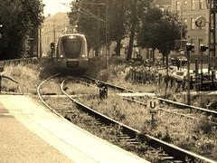 036 in ystad (brandsvig) Tags: railroad summer bw station sepia skne sweden july railway commuter sverige sommar g11 2014 ystad 036 pgatg jrnvg sknetrafiken canong11
