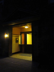 Hopperesque (SofiDofi) Tags: street city light usa building yellow night oregon portland lights evening colorful warm pretty northwest entrance september neighborhood hopperesque summer2014 summerfall2014