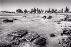 Slow the flow (JustAddVignette) Tags: australia basinbeach beach blackandwhite dawn early landscapes longexposure monavale monochrome newsouthwales northernbeaches ocean rocks sand seascape seawater sunrise sydney water