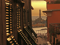 the lighthouse far away yet close (ludi_ste) Tags: lanterna faro lighthouse persiane blinds porto harbour port genova genoa