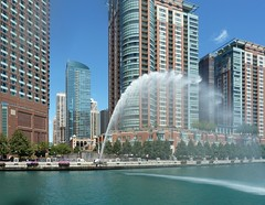 Chicago, Condo Towers and Water Canon Fountain, Between Columbus Avenue and Lake Shore Drive (Mary Warren (7.4+ Million Views)) Tags: chicago chicagoriver architecture buildings city urban skyline cityscape skyscrapers highrise water fountain watercanon