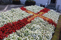 Guersey flag made from flower in Castle Cornet, St Peter Port.