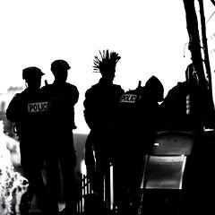 Punk under control (J2MC) Tags: square streetphotography shadow quad blackandwhite j2mc marseille punk police noiretblanc pentax pentaxart