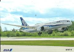 ANA B787-9 Plane (mrsris) Tags: postcard plane airplane japan postcrossing