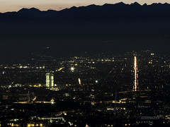 Sunset behind the mountains, Turin (alessiochiolo) Tags: night sunset notte tramonto luci citt city cityscape cityview lovelycity torino turin dark lights light traffic trails roofs inner high point view panoramic panorama alpi mountains montagne italy italian italia piemonte buildings building traffico buio superga roads street sky air skyscraper grattacielo trasporti landscape smog backlight autumn nature tripod architecture arc art arte silhouette urban