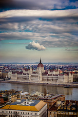 View of the Parliament from fisherman's bastion. (Vagelis Pikoulas) Tags: budapest buda pest parliament ringexcellence river dunave city cityscape canon 6d tam 70200mm vc sky clouds cloud travel hungary europe january 2016 winter