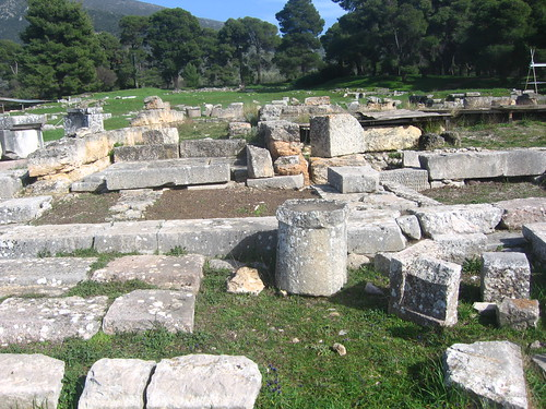 6th century BC communal eating area for sacrificial meats. Building E at Epidauros sanctuary of Asclepios