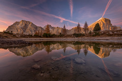 Lago Limides (dickvduijn) Tags: limides dolomites dolomiti italy sunset mountains reflections