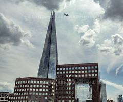 """The Shard - London, England, 2016 (Photographie Alexi """"Alvin"""" Dagher Photography) Tags: 2016 a380 airplane angle architecture blue bluesky britain building buildings business city clouds cloudy color contemporary day daytime detail emirates england epic europe facades finance front glass high iconic jetplane landmark london long modern new noone nopeople nobody offices outdoors pointy recentarchitecture rise shard skyline skyscraper space square squares summer tall thamesriver theshard tourism tower travel uk urban windows alexidagher"""