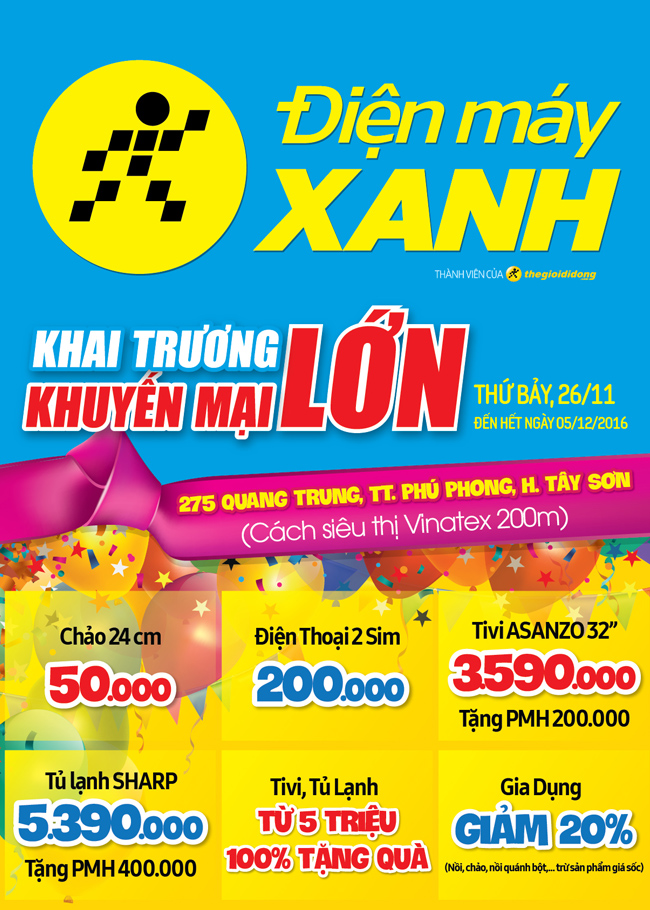 Khai trương siêu thị Điện máy XANH Tây Sơn, Bình Định
