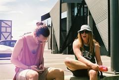 Sidewalks Boys (Denzel De Ruysscher) Tags: film pentax 35mm crate day sun nature beer explore outside laugh boys flare sky