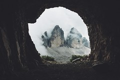 Tre Cime in the a Cave. (Bokehm0n) Tags: landscape nature vsco explore flickr earth travel folk 500px tre cime italy dolomites vscofilm mountain environment cave rock light park daylight outdoors geology scenic exploration eruption tourism