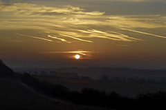 Sunrise Come Every Morning (Andi Hardman) Tags: winter sunrise red morning sun sky clouds fog hill trail countryside view mist fort vapour vapor scarred hillfort danebury