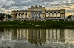 "The ""Gloriette"" (MarcellusP) Tags: vienna wien sunset panorama cloud sun reflection art water architecture landscape gold austria high nikon dynamic range hdr schonbrunn gloriette marc"