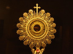 old monstrance on display at La Catedral de Barcelona